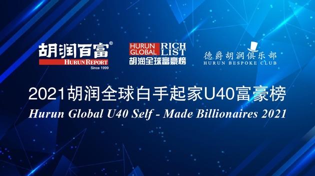 2021胡润全球白手起家40岁以下富豪榜张一鸣第二宿华进入前五